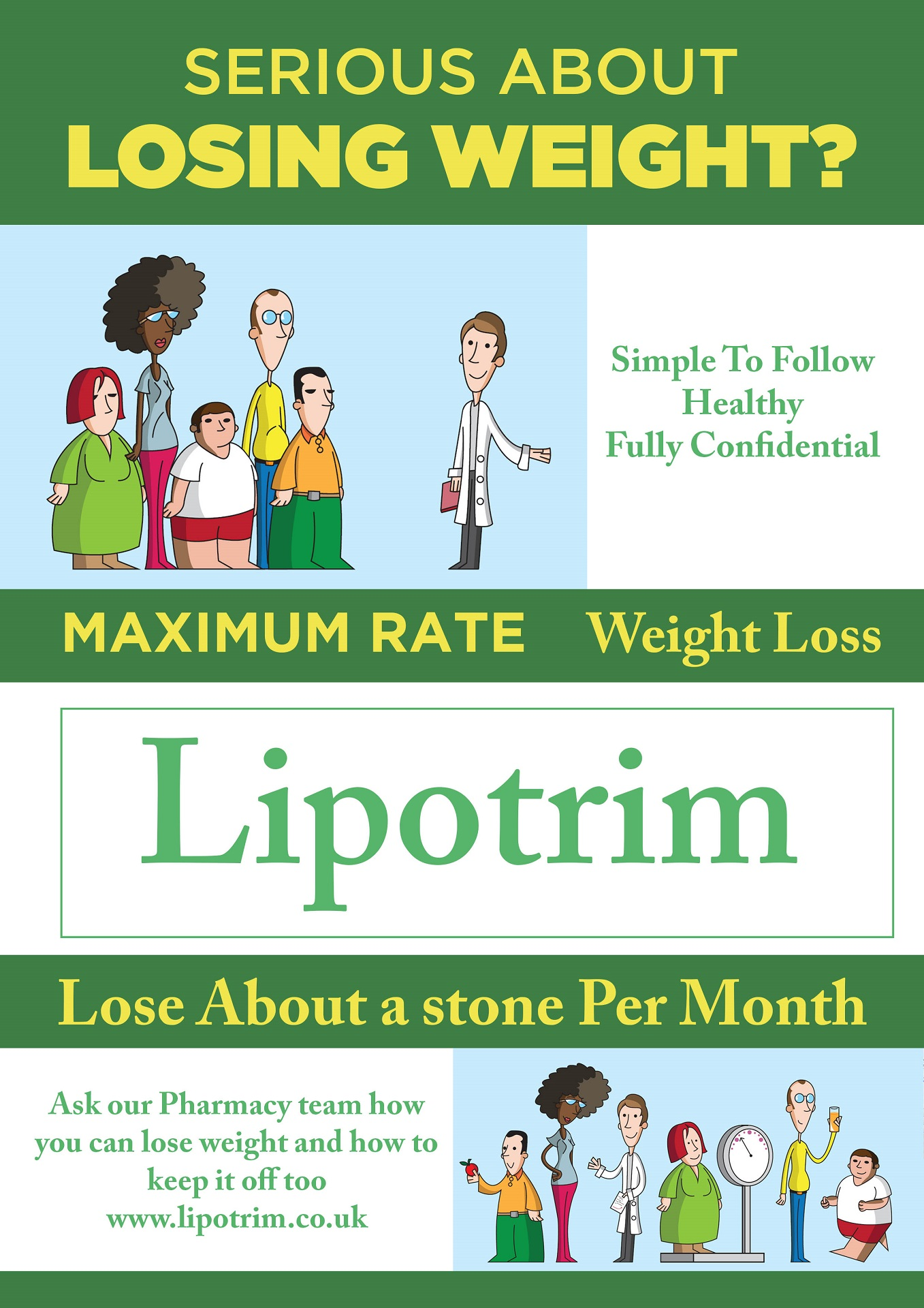 A lipotrim poster showing cartoon figures